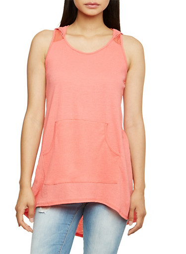 Sleeveless Hooded Tunic Top with Mesh Paneling,CORAL,large