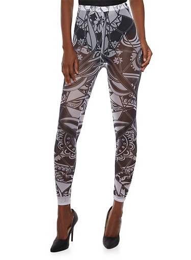 Mesh Leggings in Dashiki Print,BLACK/WHITE,large