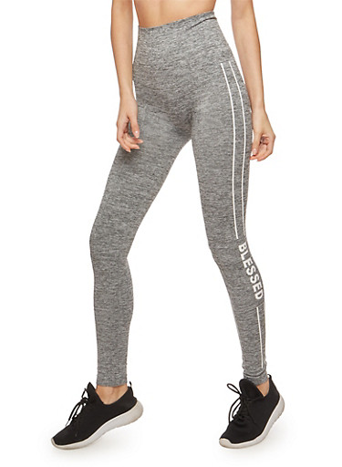 Marled Blessed Graphic Leggings,GRAY,large