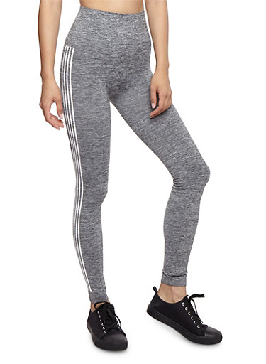 Marled Varsity Stripe Leggings,GRAY,large