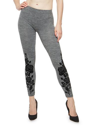 Rose Velvet Print Fleece Leggings,GRAY,large