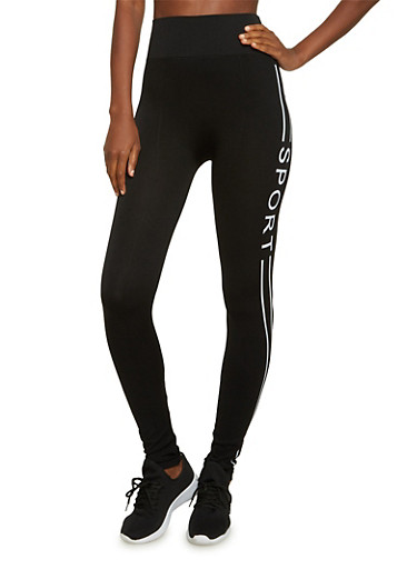 High Waisted Leggings with Sport Print,BLACK,large