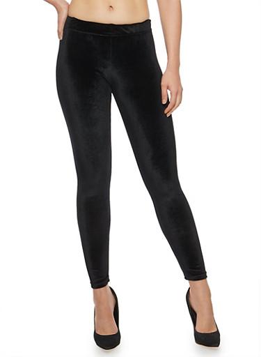 Velvet Leggings,BLACK,large