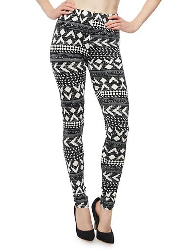 Leggings in Ikat Print,BLACK/WHITE,large