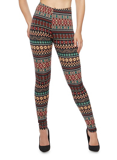 Knit Leggings in Aztec Print,CORAL,large