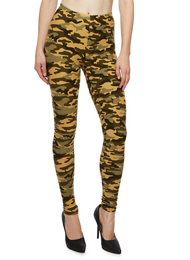 Brushed Knit Camo Print Leggings,OLIVE,large