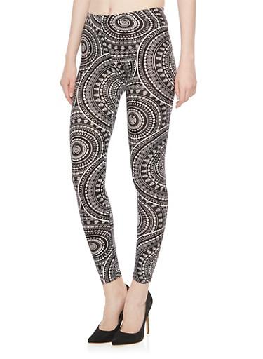Brushed Knit Abstract Print Leggings,BLACK/WHITE,large