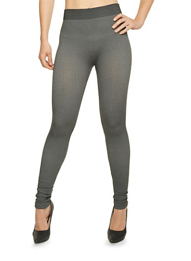 Checkered Print Leggings,CHARCOAL,large