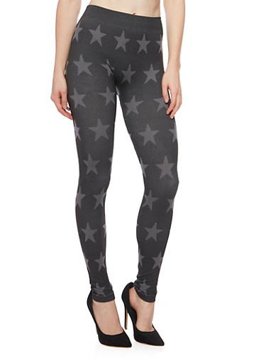 Leggings with Star Print,CHARCOAL,large
