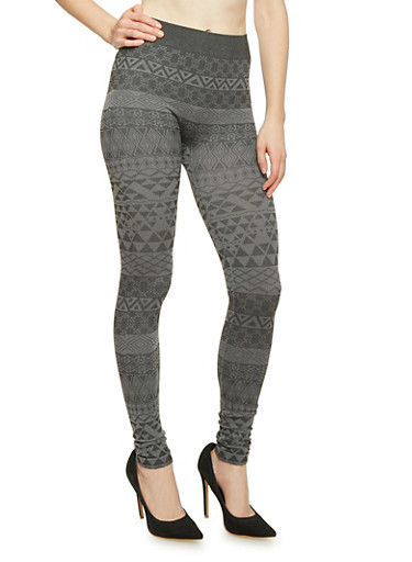 Leggings with Aztec Print,CHARCOAL,large