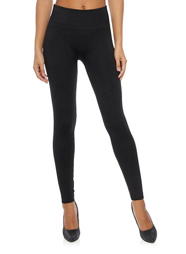 Cable Knit Leggings with Fleece Lining,BLACK,large