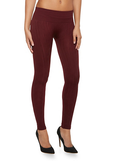 High Waisted Leggings in Cable Knit,BURGUNDY,large