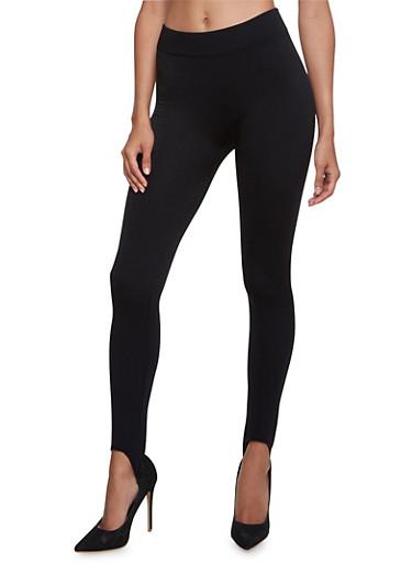 Fleece Stirrup Leggings,BLACK,large