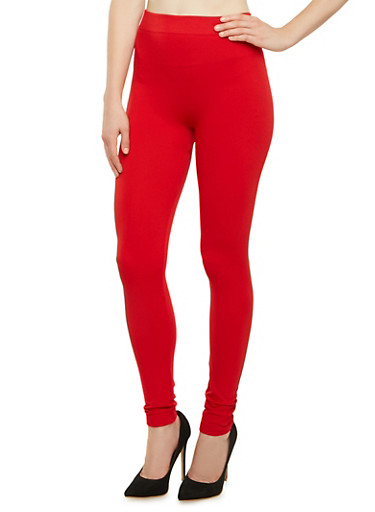 Textured Leggings with Ribbed Trim,RED,large