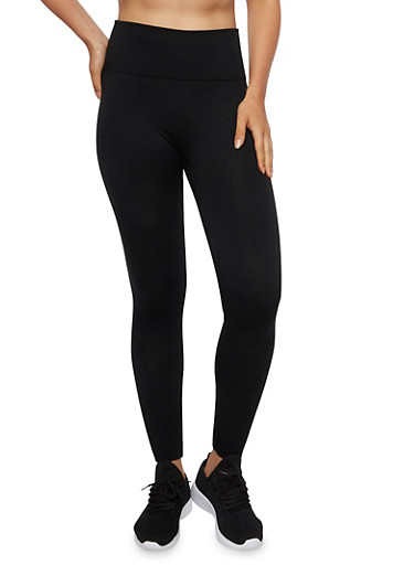 Fleece Leggings with Contrast Knit Waist,BLACK,large