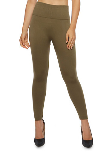 Solid Leggings with Popcorn Knit Waistband,OLIVE S,large