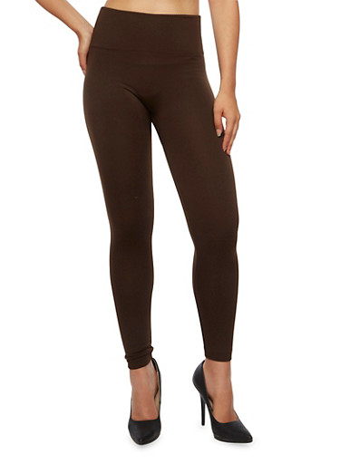 Foldover Leggings with Popcorn Stitch Knit,BROWN S,large