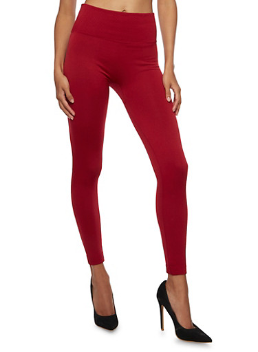 Knit Leggings with Textural Knit Waistband,BURGUNDY,large