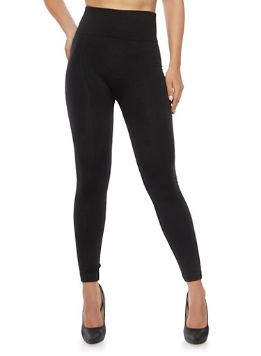 Seamless Leggings with Fleece Lining,BLACK,large
