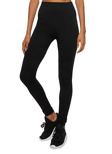 Solid Knit Leggings,BLACK,large