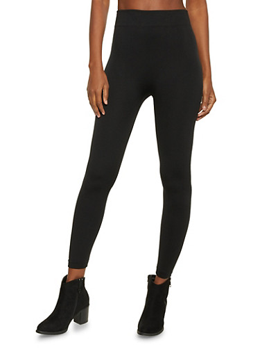 Leggings with Fleece Lining,BLACK,large
