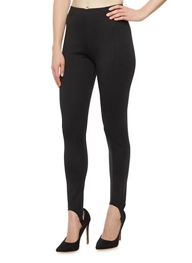 Stretch Knit Stirrup Pants,BLACK,large