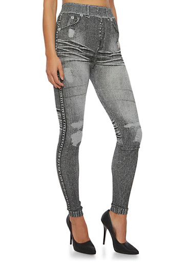 Denim-Print Leggings,BLACK DENIM,large
