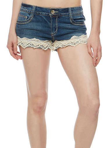 Almost Famous Crochet Trim Denim Shorts,MEDIUM WASH,large