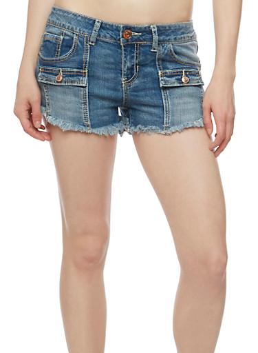 Almost Famous Frayed Hem Denim Shorts,MEDIUM WASH,large