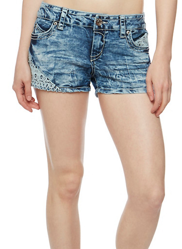 Almost Famous Acid Wash Shorts with Crochet Details,MEDIUM WASH,large