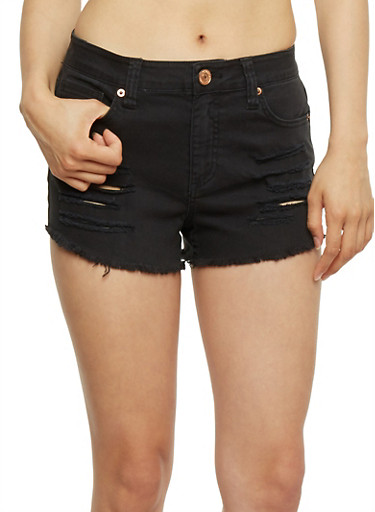 Almost Famous Cut Off Denim Shorts,BLACK,large
