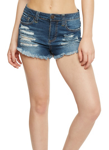 Almost Famous Frayed Jean Shorts,DENIM,large