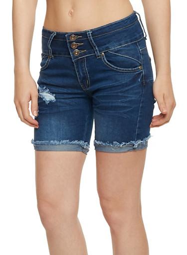 3 Button Frayed Roll Cuff Shorts,MEDIUM WASH,large