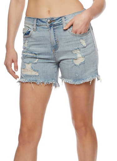Cello Destroyed Jean Shorts,LIGHT WASH,large