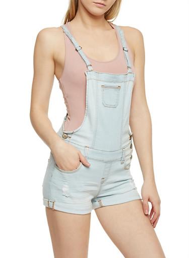 WAX Cuffed Denim Suspender Shortalls,LIGHT WASH,large