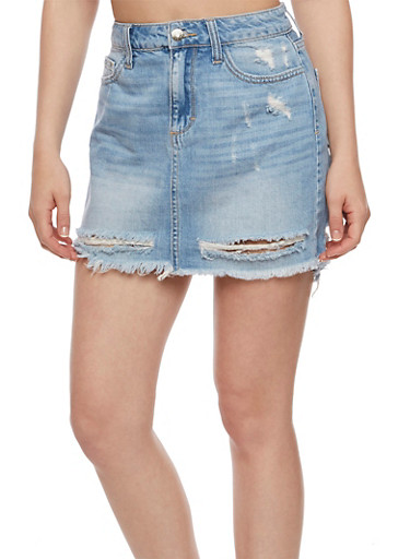 Frayed Denim Mini Skirt,MEDIUM WASH,large