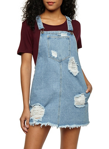 Distressed Denim Overall Dress,LIGHT WASH,large