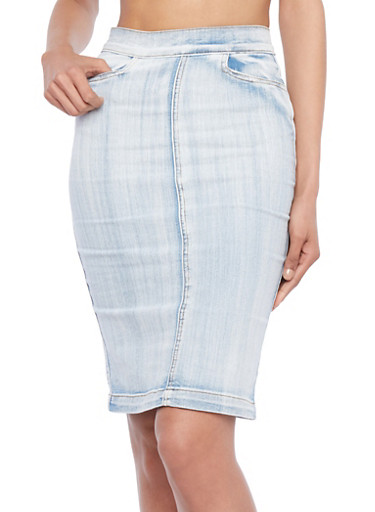 Denim Midi Skirt with Pockets