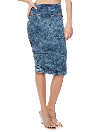 Acid Wash Lace Up Pencil Skirt,ACID,large