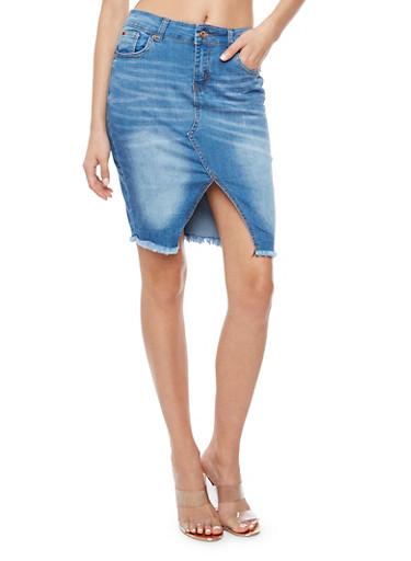Frayed Denim Pencil Skirt,MEDIUM WASH,large