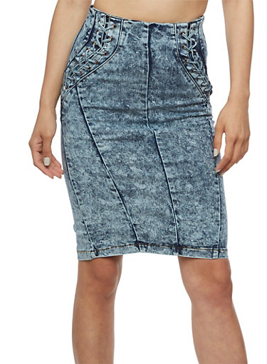 Stretch Denim Pencil Skirt with Lace Up Sides,ACID,large