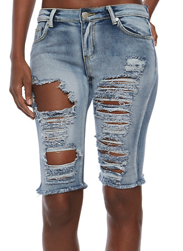 Frayed Denim Bermuda Shorts,MEDIUM WASH,large