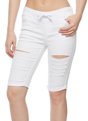 Slashed Bermuda Shorts with Drawstring Waist,WHITE,large