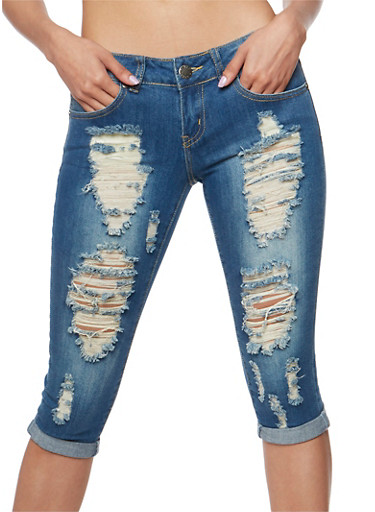 VIP Destroyed Capri Jeans,DARK WASH,large