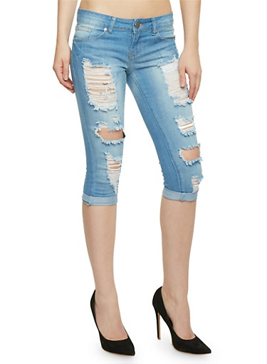 VIP Destroyed Capri Jeans,LIGHT WASH,large