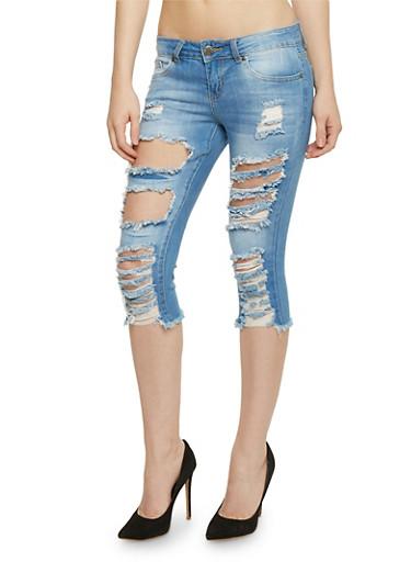 VIP Destroyed Capri Jeans with Frayed Hem,MEDIUM WASH,large