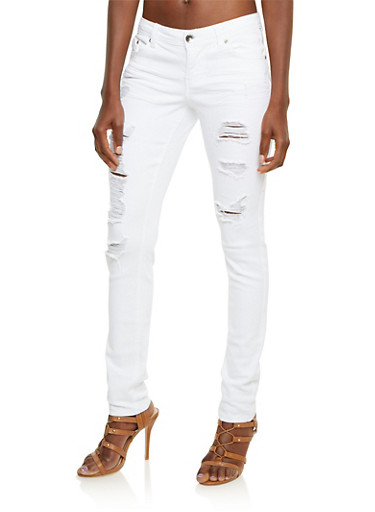 Almost Famous Distressed Skinny Jeans,WHITE,large