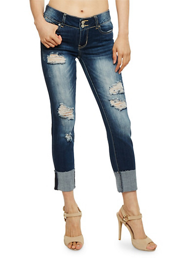 Almost Famous Roll Cuff Distressed Jeans,MEDIUM WASH,large