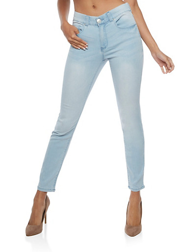 Almost Famous Skinny Jeans with Elastic Waist,LIGHT WASH,large