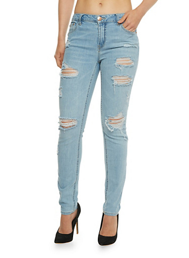 Almost Famous Destroyed Skinny Jeans,MEDIUM WASH,large